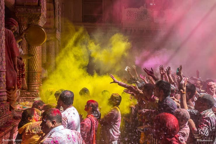 Holi celebration in the Hindu Banke Bihare temple in Vrindavan, Uttar Pradesh, India