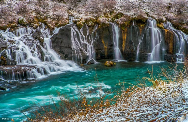 Hraunfossar waterfall during winter