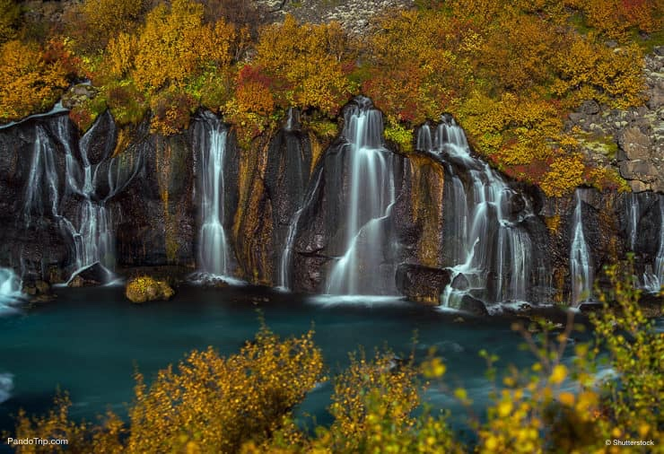 Hraunfossar waterfall in the Fall