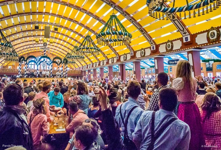 Loewenbraeu-Festhalle tent at the Oktoberfest in Munich, Germany