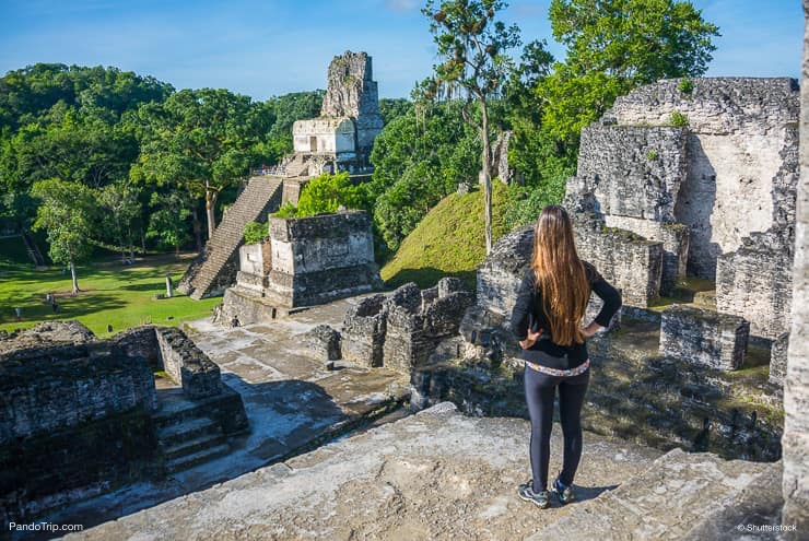 Looking at Mayan historic buildings at Tikal