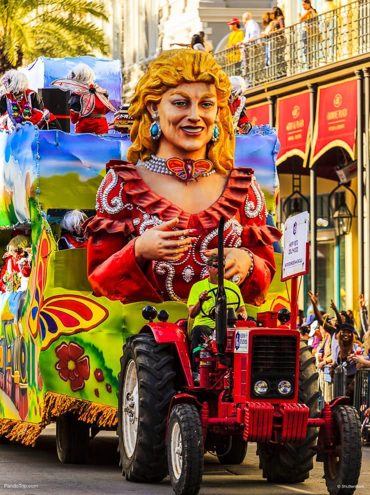 Mardi Gras parades through the streets of New Orleans
