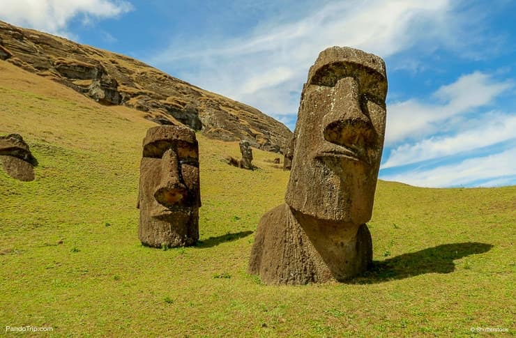 Moais at Rano Raraku volcano, Easter island, Chile