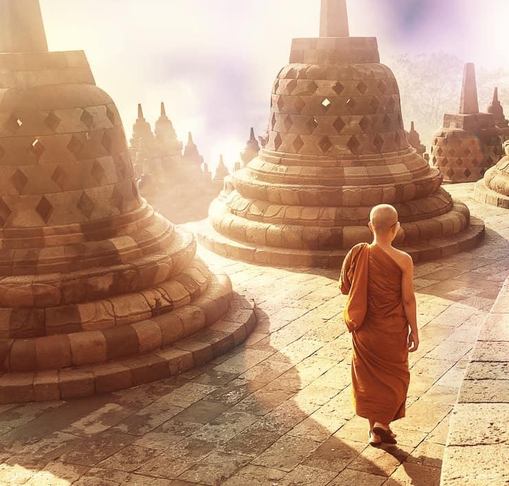 Monk at Borobudur Temple