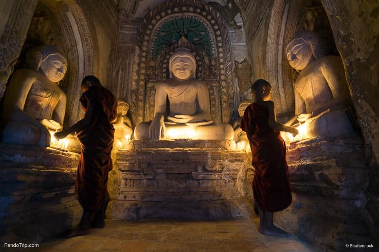 Monks Inside Bhuddist Pagoda Temple in Bagan, Myanmar