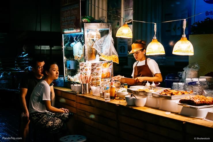 Night street food market in Bangkok, Thailand
