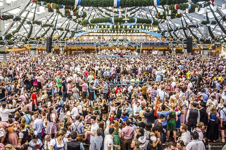 Overview over the big beer tent at Oktoberfest in Munich
