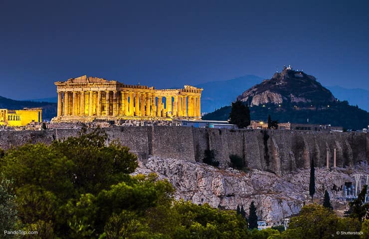 Parthenon of Athens at night