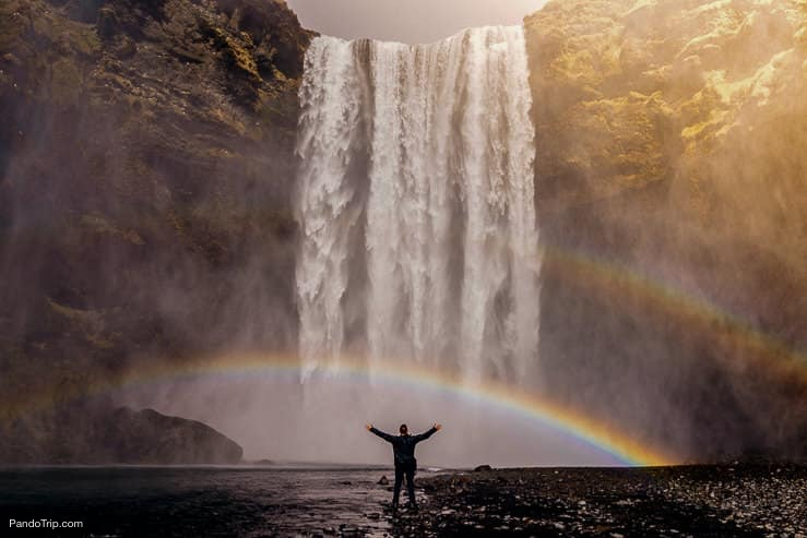 Rainbow under Skogafoss waterfall