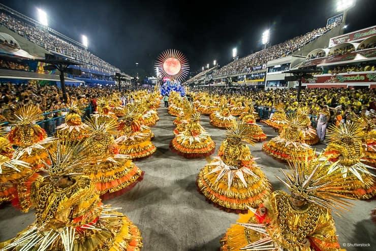 Samba school parade at Sambodromo during the Carnival in Rio de Janeiro, Brasil
