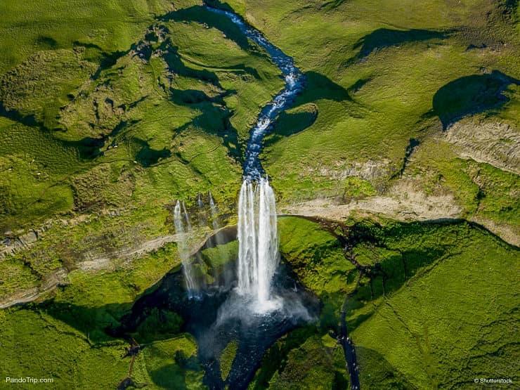 Seljalandsfoss waterfall drone view