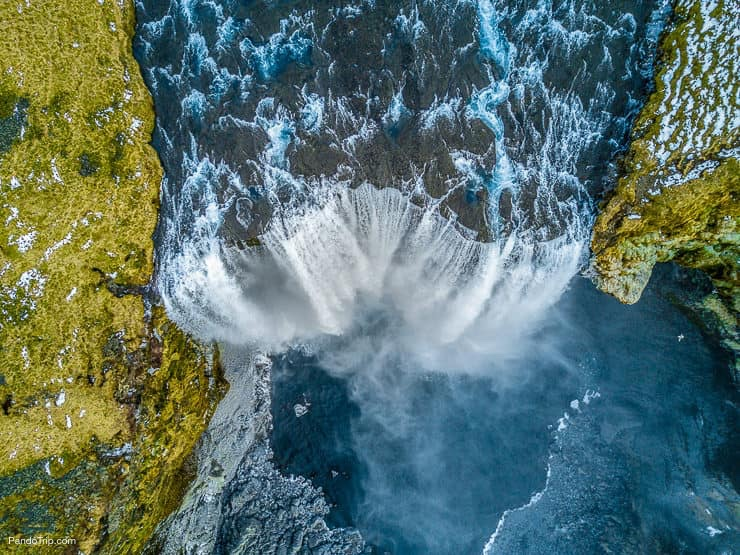 Skogafoss waterfall from above