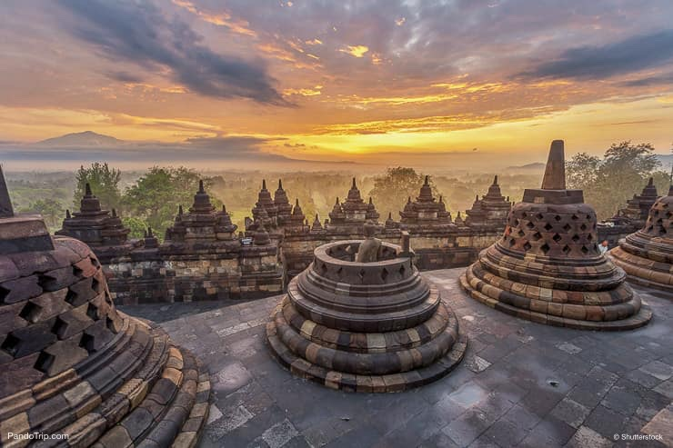 Sunrise seen from the Borobudur, Indonesia