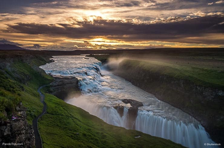 Sunset over Gullfoss Waterfall