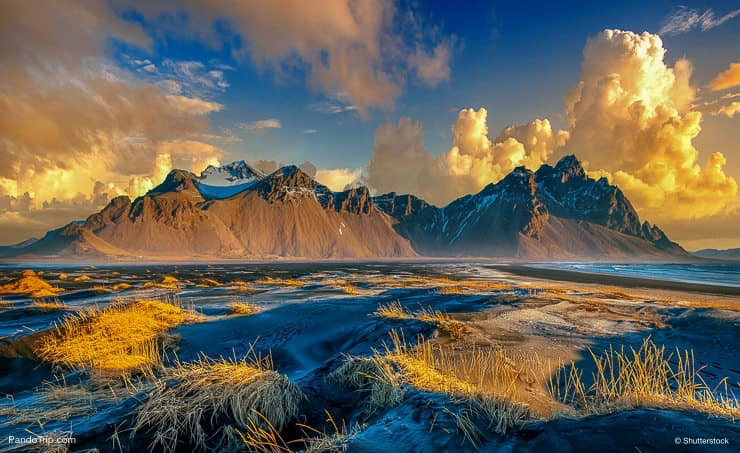 Sunset shoot at Stokksnes peninsula with the famous mountain Vestrahorn, Iceland