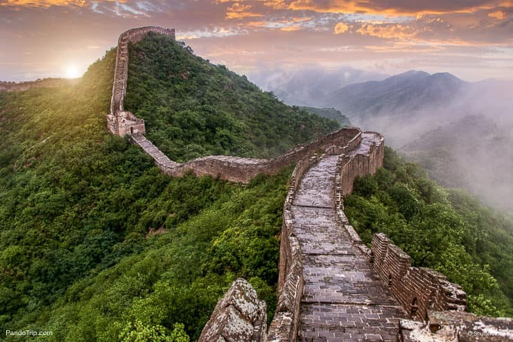 The Great Wall of China in clouds