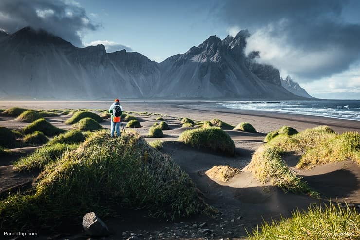 Vestrahorn (Batman Mountain) and Stokksnes beach in Iceland