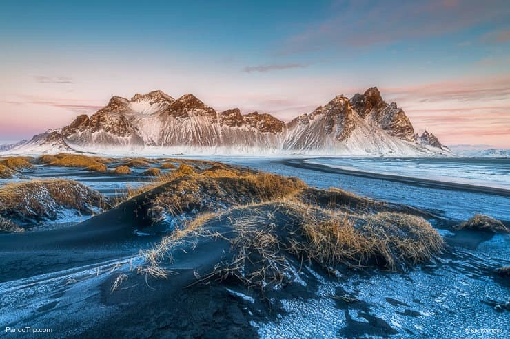 Vestrahorn mountains in Stokksnes, Iceland during winter