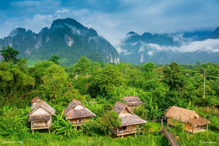 Village in in Vang Vieng, Laos