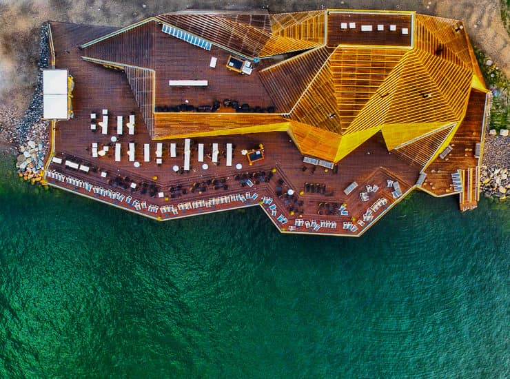 Aerial Drone view of Loyly Sauna, Helsinki, Finland