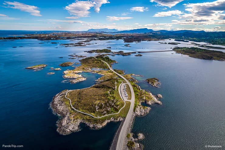 Atlantic Road in Norway. Aerial drone shot