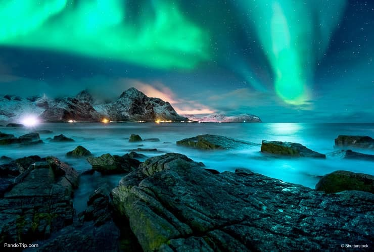 Aurora borealis above islands of Lofoten