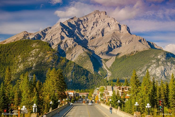 Banff Avenue with Cascade Mountain in the background