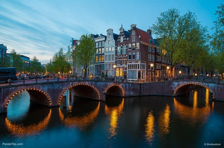 Canal Crossroads At Keizersgracht, Amsterdam, Netherlands