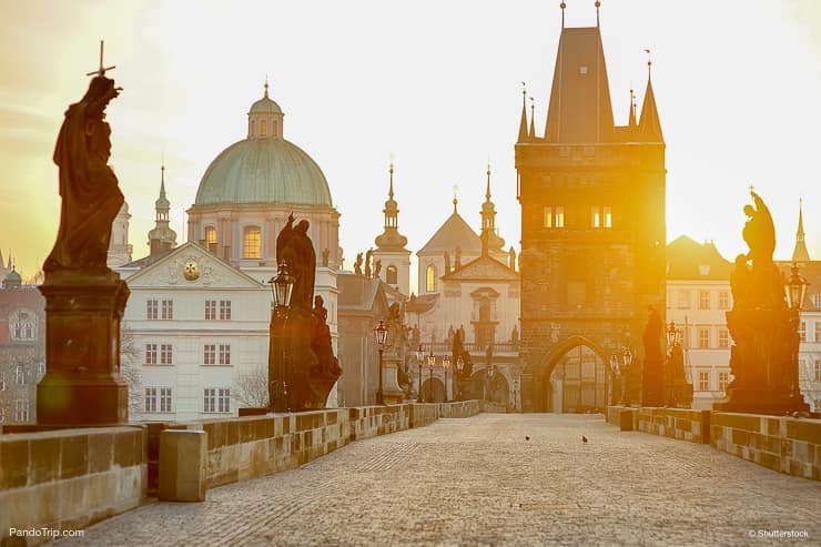Charles Bridge and Lesser Town Tower, Prague, Czech Republic