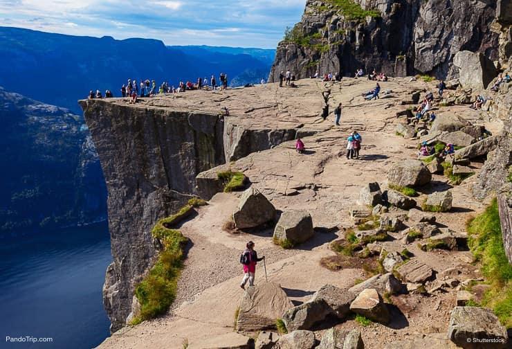 Cliff Preikestolen at fjord Lysefjord, Norway