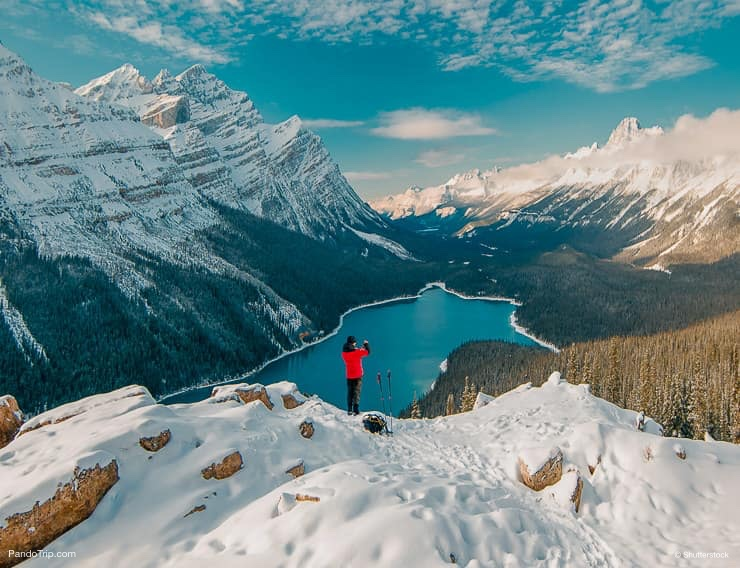 Enjoying the stunning Peyto Lake views in Banff National Park