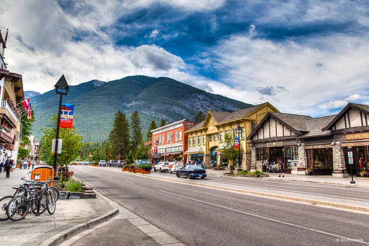 Famous Banff Avenue in a sunny summer day in Banff, Alberta