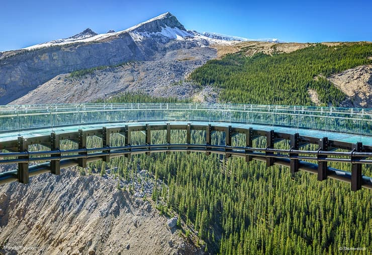 Glacier skywalk near the famous icefield parkway road from Banff to Jasper