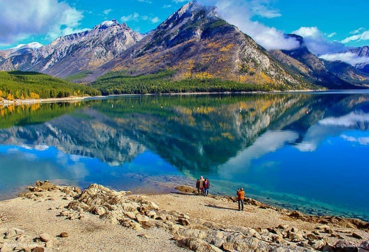 Lake Minnewanka. The largest lake in the Canadian Rockies