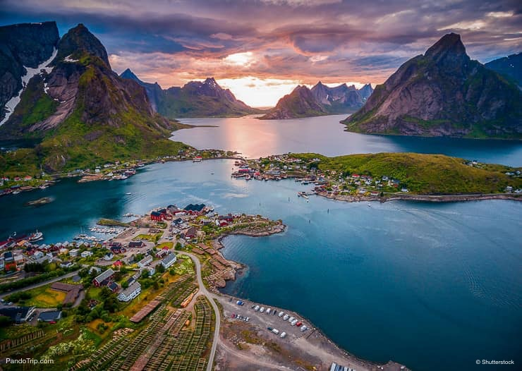 Lofoten islands, Norway. Drone view