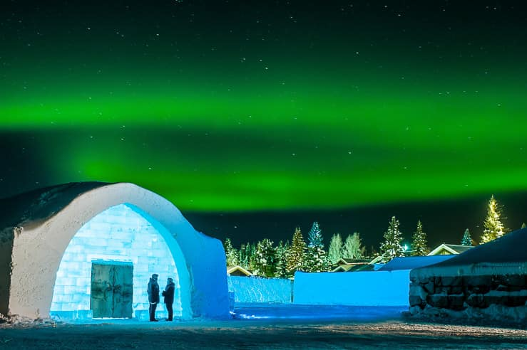 Northern lights over Ice Hotel in Sweden