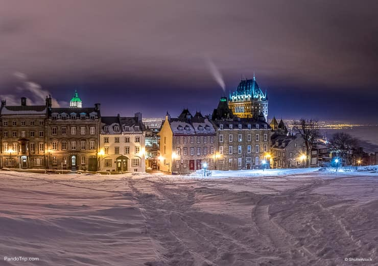 Old Quebec city during a cold winter night