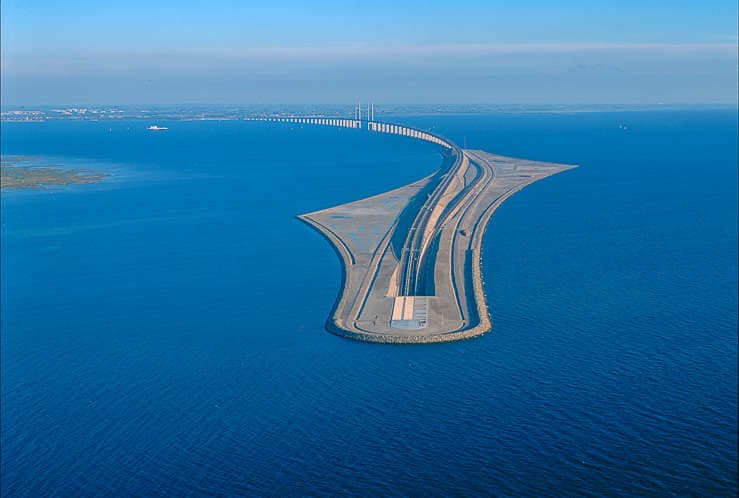 The Oresund Underwater Bridge which links Sweden with Denmark