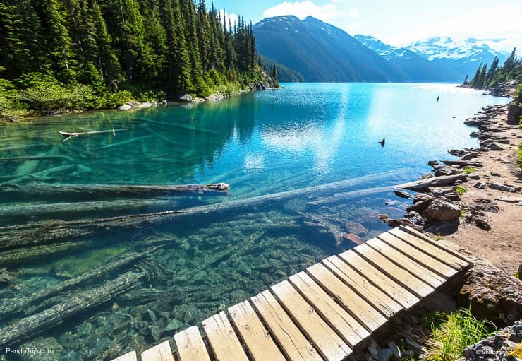 Turquoise waters of Garibaldi Lake near Whistler, BC, Canada