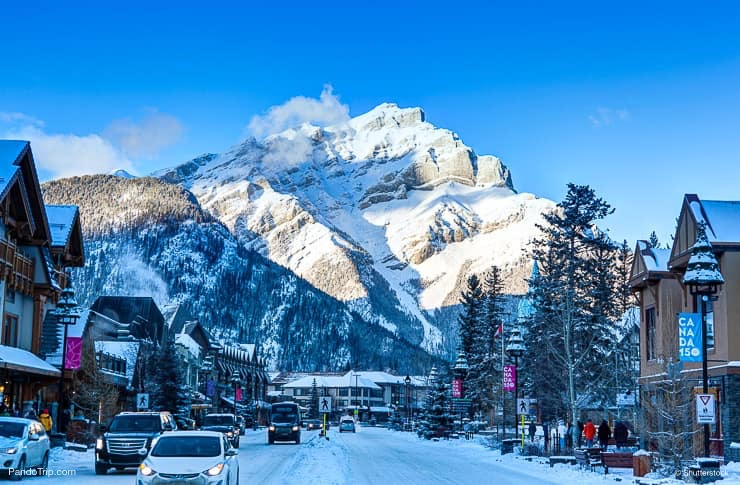 Winter scene on Banff Avenue, Canada