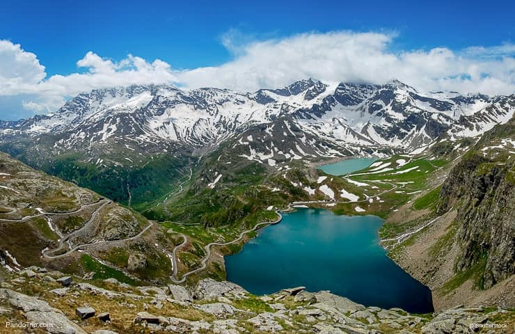Aerial Drone view of Gran Paradiso National Park, Italy