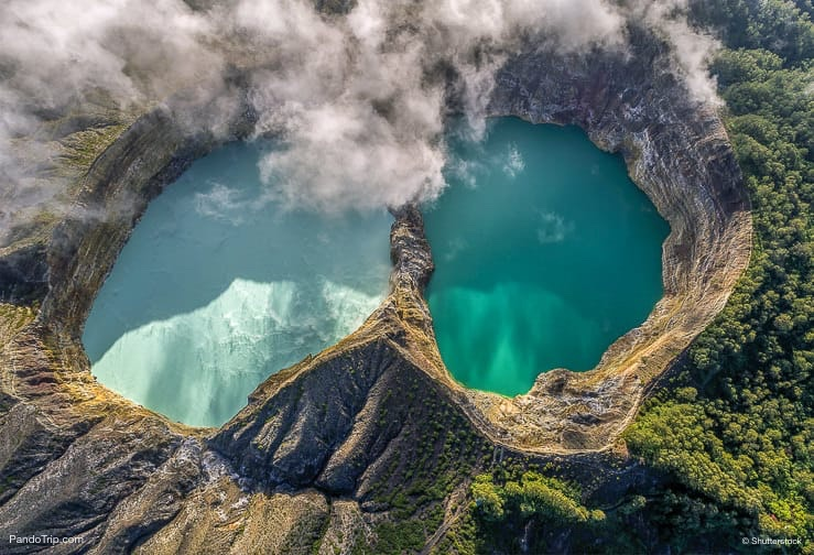 Aerial Drone view of Kelimutu volcano and its crater lakes, Flores Island, Indonesia