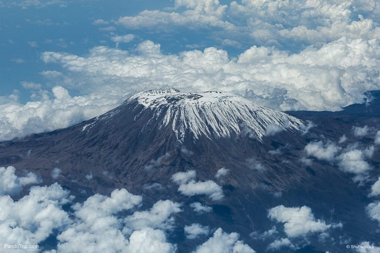 Aerial Drone view of Mount Kilimanjaro. Kilimanjaro National Park, Tanzania