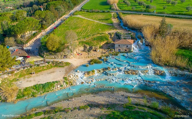 Aerial drone view of Cascate del Mulino, Saturnia, Italy