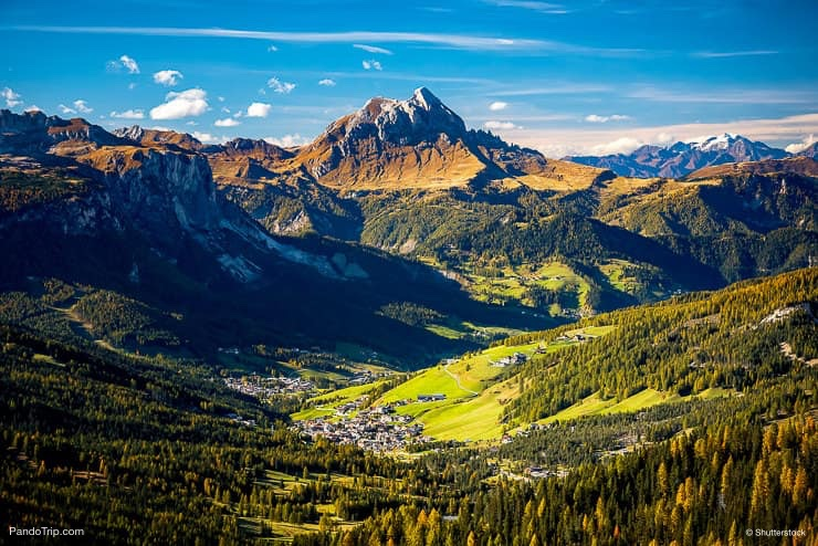Beautiful view of Canazei from Passo Sella, Dolomites, Italy