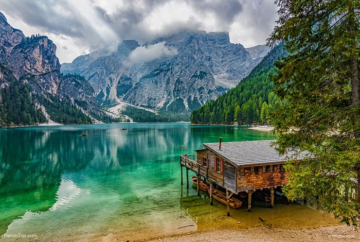 Boathouse at Lago di Braies or Pragser Wildsee, South Tyrol, Italy
