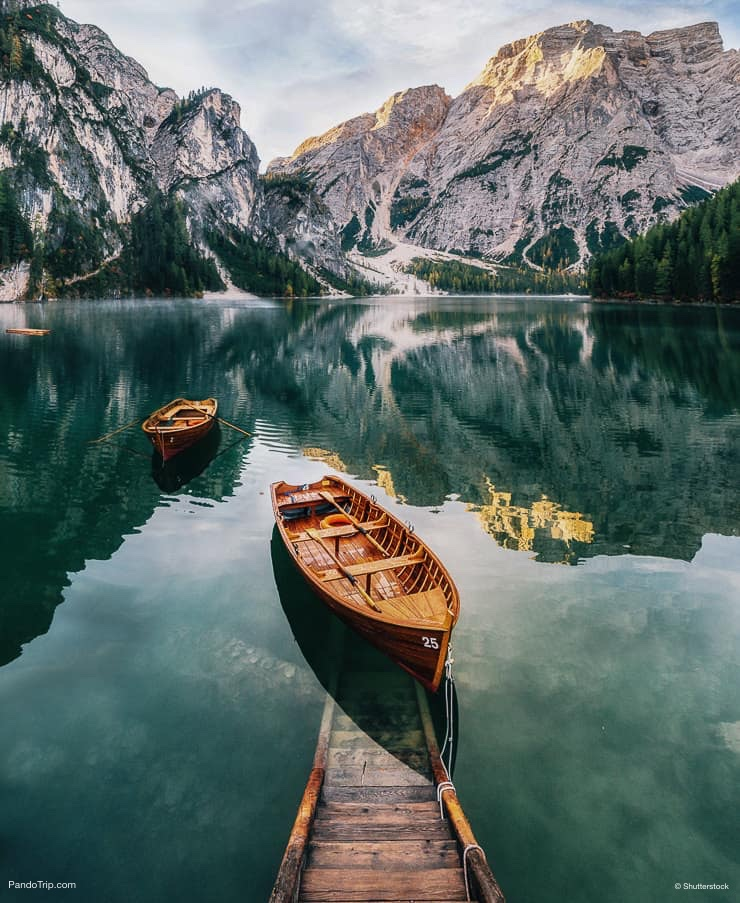 Boats and slip construction at Lago di Braies or Pragser Wildsee, South Tyrol, Italy