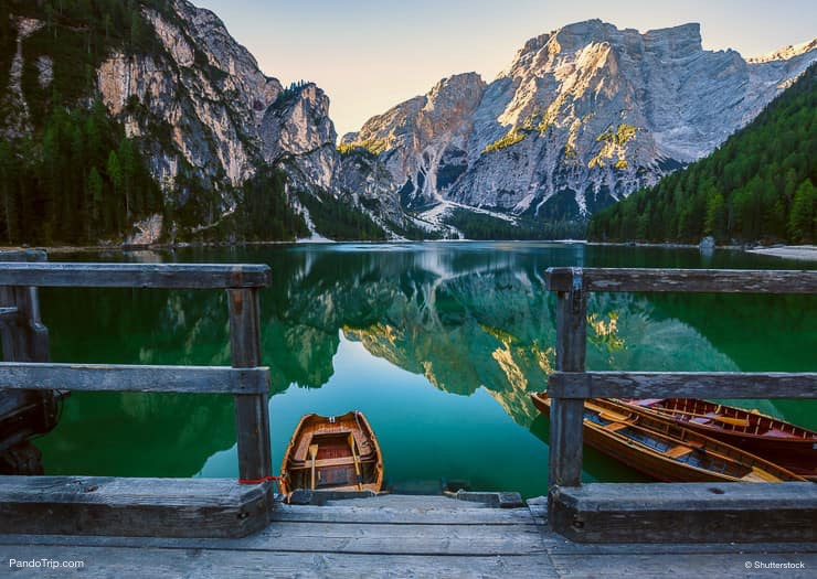 Boats on Lago di Braies or Pragser Wildsee, South Tyrol, Italy
