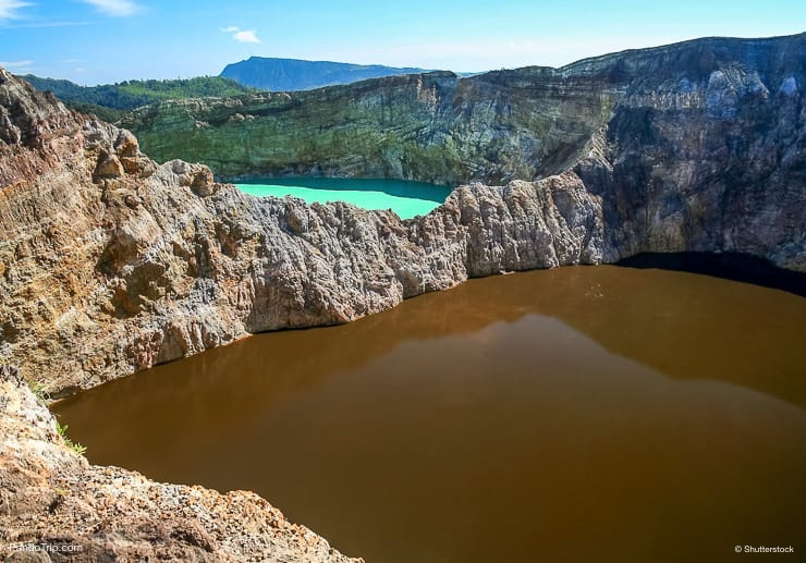 Crater lakes of various colours of the stunning Kelimutu Volcano, Flores Islands, Indonesia