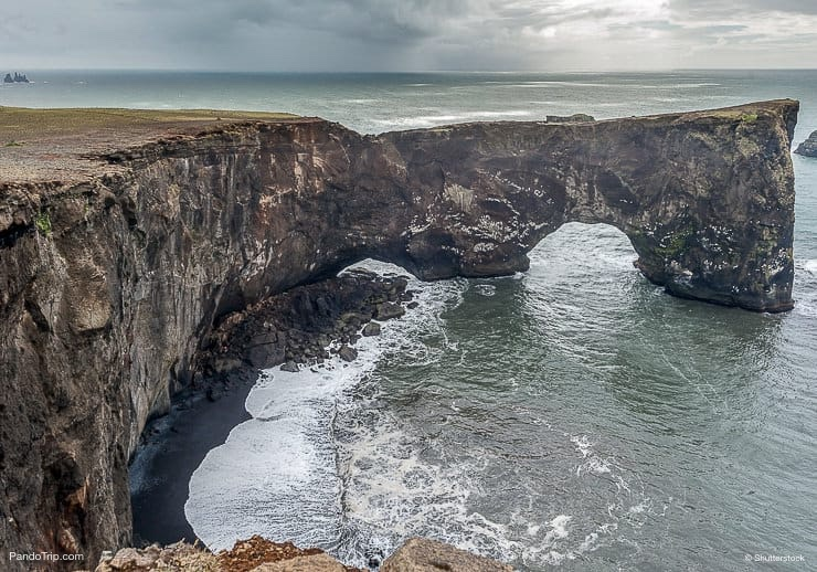 Dyrholaey Arch with the Hole in Iceland